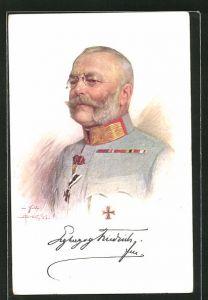 Künstler-AK Erzherzog Friedrich von Österreich in Uniform