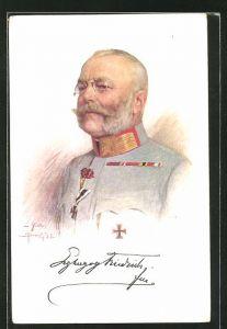 Künstler-AK Erzherzog Friedrich von Österreich in Uniform mit Orden