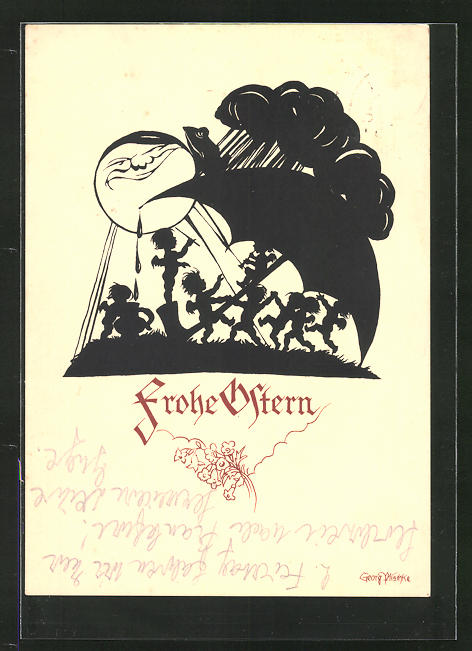 Künstler-AK Georg Plischke: Frohe Ostern!, Engelchen unterm Regenschirm