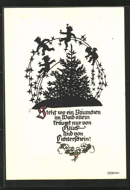 Künstler-AK Georg Plischke: Steht wo ein Bäumchen im Wald allein..., Engel, Silhouetten