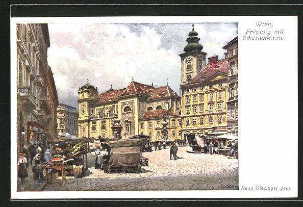 Künstler-AK Hans Götzinger: Wien, Freyung mit Schottenkirche