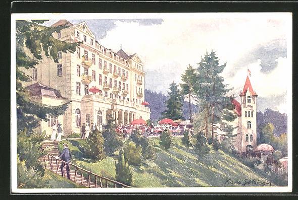 Künstler-AK Hans Götzinger: Marienbad, Hotel Esplanade und Villa Waldidylle