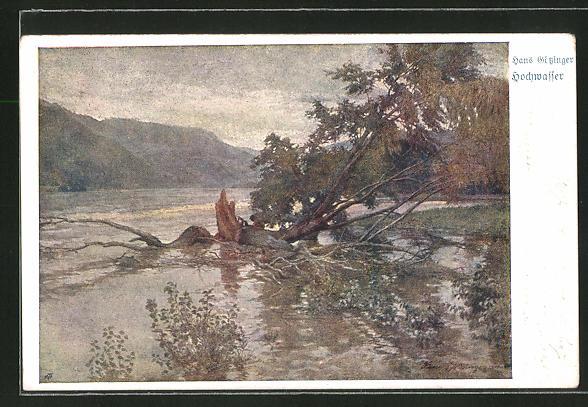 Künstler-AK Hans Götzinger: Hochwasser, Landschaft