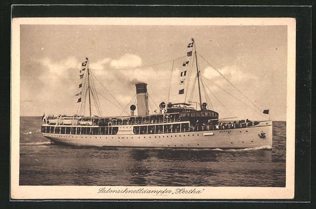 AK Salonschnelldampfer Hertha, Steuerbordseite