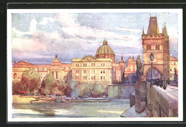 Künstler-AK Jaroslav Setelik: Prag, Karlsbrücke und Mala Strana