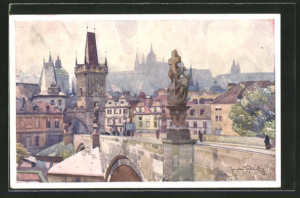 Künstler-AK Jaroslav Setelik: Prag, Malostranské Mostní Panorama