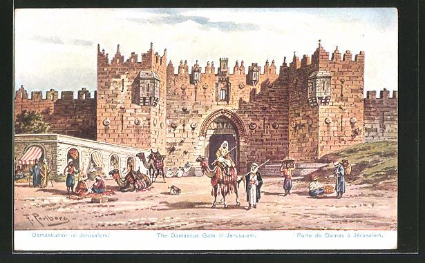 Künstler-AK Friedrich Perlberg: Jerusalem, Damaskustor