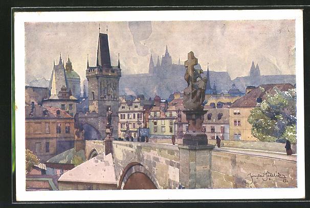 Künstler-AK Friedrich Perlberg: Prag, Karlsbrpcke und Malá Strana