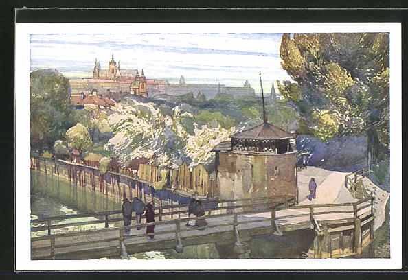 Künstler-AK Jaroslav Setelik: Prag, Der Garten vom Arsenal
