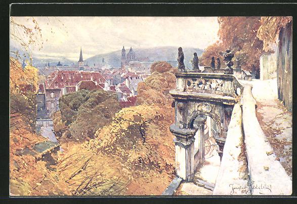 Künstler-AK Jaroslav Setelik: Prag, Podzim v Malostranskych palácích