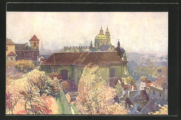 Künstler-AK Jaroslav Setelik: Prag, Kostel sv. Kajetána na Malé Strane