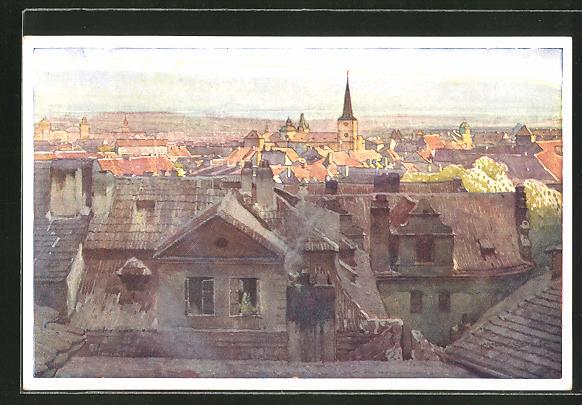 Künstler-AK Jaroslav Setelik: Prag, Panoramablick