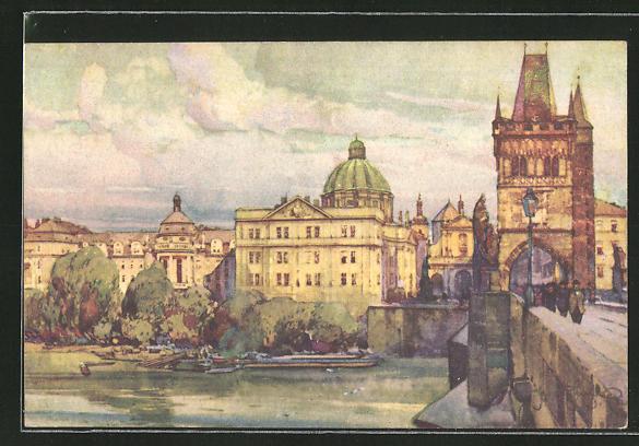 Künstler-AK Jaroslav Setelik: Karlsbrücke mit Malá Strana