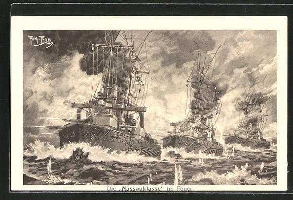 Künstler-AK Arthur Thiele: Die Nassauklasse im Feuer, Kriegsschiffe