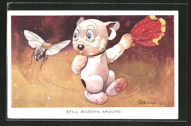 Künstler-AK George Ernest Studdy: Bonzo, Still buzzing around 0