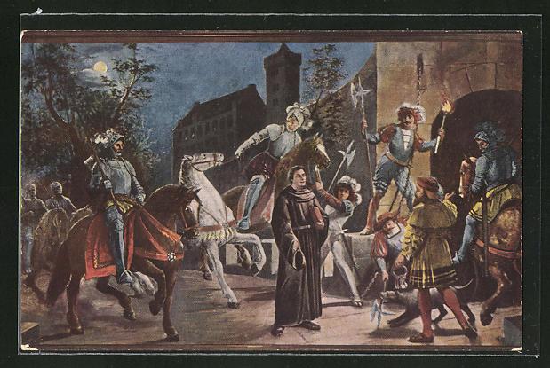 AK Martin Luthers Ankunft auf der Wartburg
