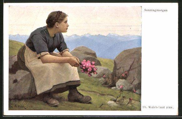 Künstler-AK Thomas Walch: Mädchen mit Blumen an einem Sonntagmorgen