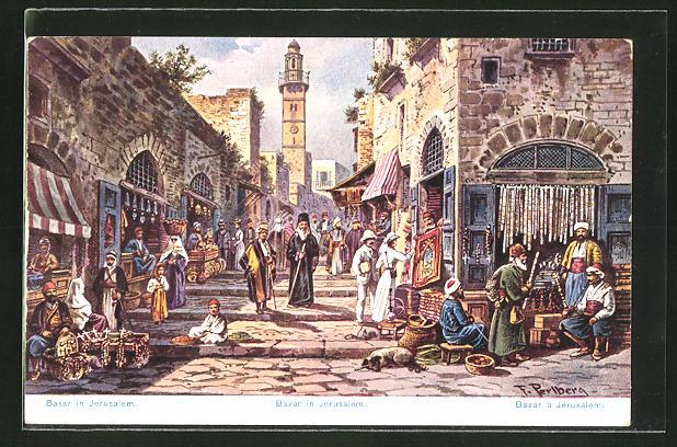 Künstler-AK Friedrich Perlberg: Jerusalem, Handel in einer Bazar-Strasse