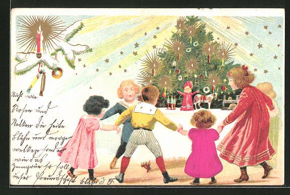 Präge-Lithographie Kinder tanzen um den Weihnachtsbaum herum