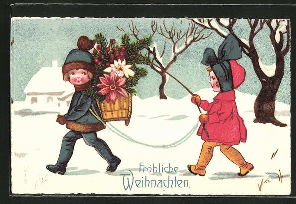 AK Mädchen führt Jungen mit Blumenkorb an der Leine,