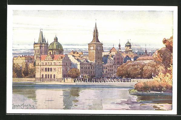 Künstler-AK Jaroslav Setelik: Prague, le moulin de la vielle ville