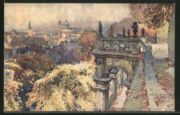 Künstler-AK Jaroslav Setelik: Prague, Vue du jardin de Fürstenberg