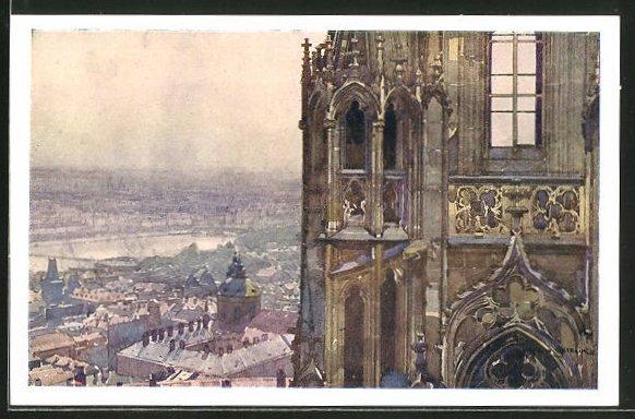 Künstler-AK Jaroslav Setelik: Prague, A la tour du nord du dome