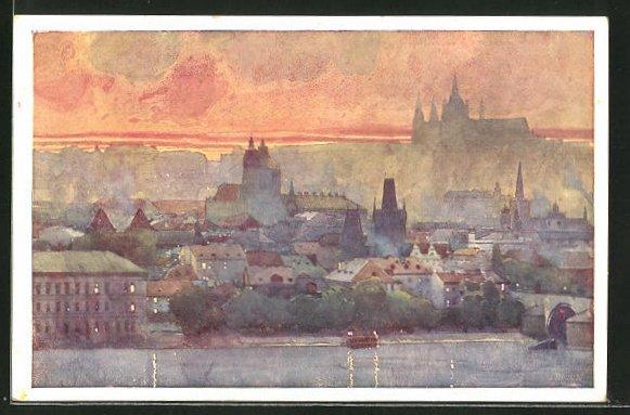 Künstler-AK Jaroslav Setelik: Prague, Une Partie de Hradcany et du petit coté prise de Bellevue