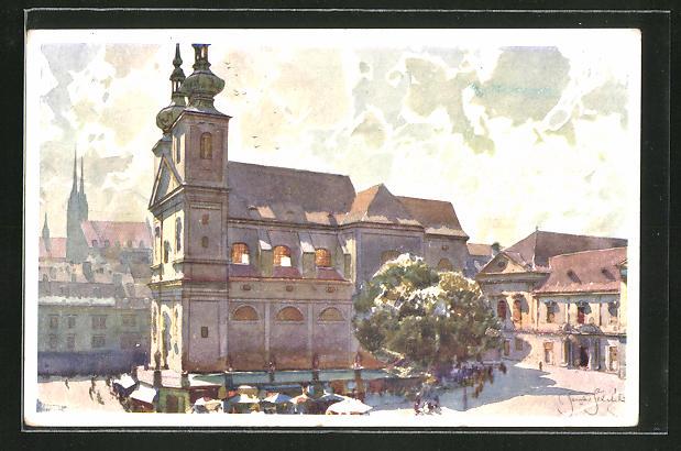 Künstler-AK Jaroslav Setelik: Brünn, Partie am Dominikanerplatz