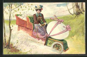 Präge-Lithographie Dame transportiert Osterei mit ihrem Auto,