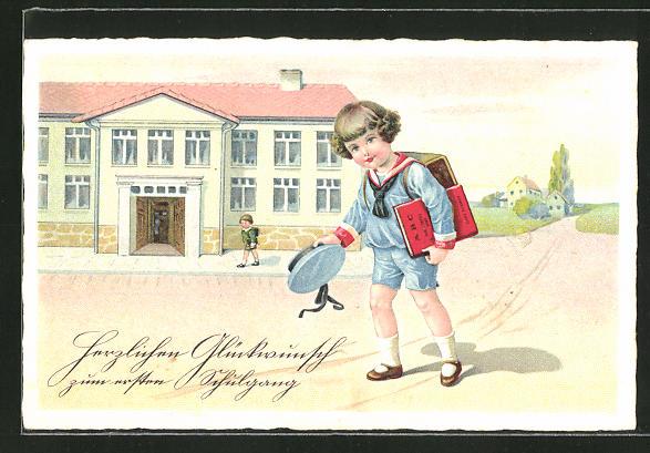 AK Knabe mit Buch und Ranzen, Schulanfang