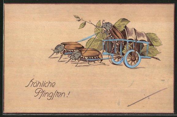 AK Maikäfer ziehen einen anderen in einem Karren