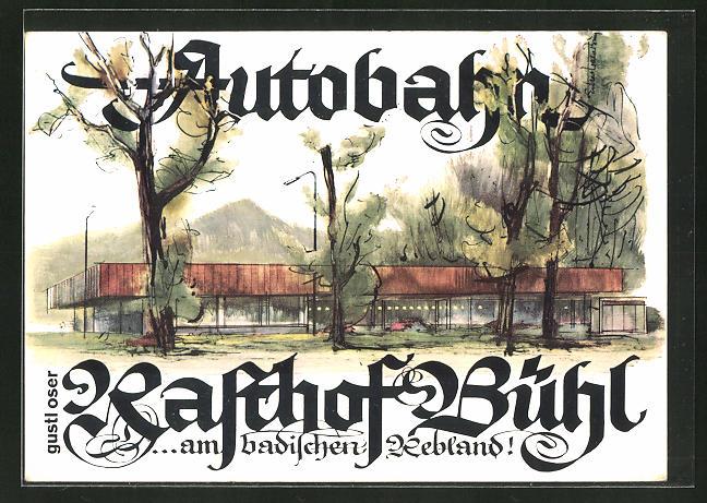 AK Halberstung, Autobahn-Rasthof Bühl / Baden von Gustl Oser