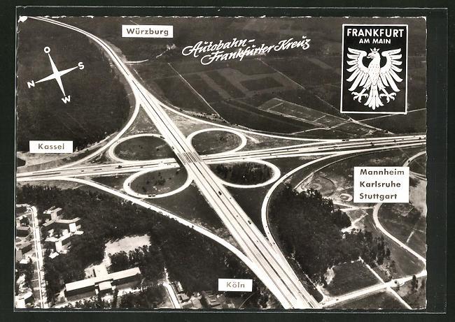 AK Frankfurt am Main, Autobahn Frankfurter Kreuz, Richtung Würzburg, Mannheim, Karlsruhe, Stuttgart, Köln & Kassel