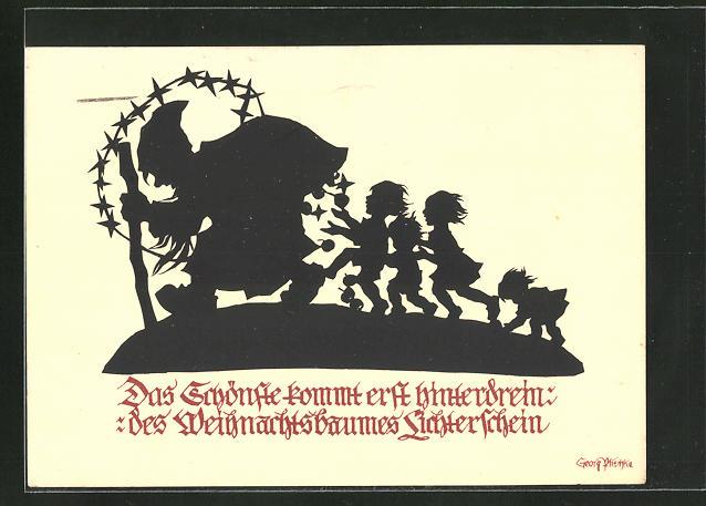 Künstler-AK Georg Plischke: das Schönste kommt erst hinterdrein - des Weihnachtsbaumes Lichterschein