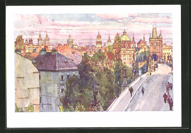 Künstler-AK Jaroslav Setelik: Prag, Auf der Karlsbrücke