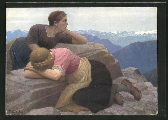Künstler-AK Thomas Walch: Verlorene Heimat - Süd-Tirol, weinende Frau auf einem Berg