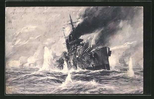 Künstler-AK Willy Stoewer: Seegefecht 1915: Vernichtung eines englischen Schlachtkreuzers