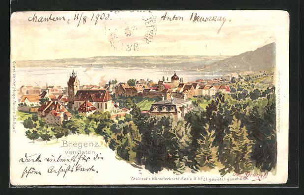 Künstler-AK Otto Strützel: Bregenz, Panorama von Osten
