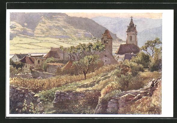 Künstler-AK E.F. Hofecker: Dürnstein, Panorama