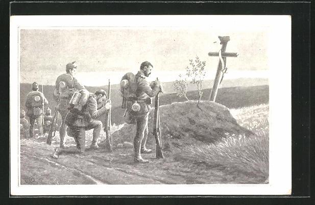 AK Österreichische Soldaten beten am einsamen Kriegsgrab am Strassenrand