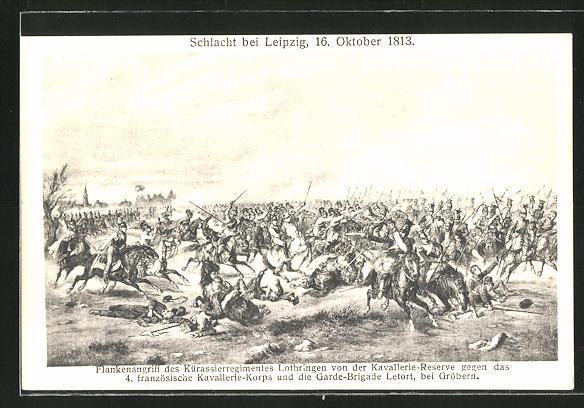 AK Schlacht bei Leipzig 1913: Flankenangriff des Kürassierregiments Lothringen gegen französische Kavallerie
