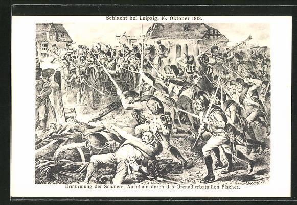 AK Schlacht bei Leipzig 1913: Erstürmung der Schäferei Auenhain