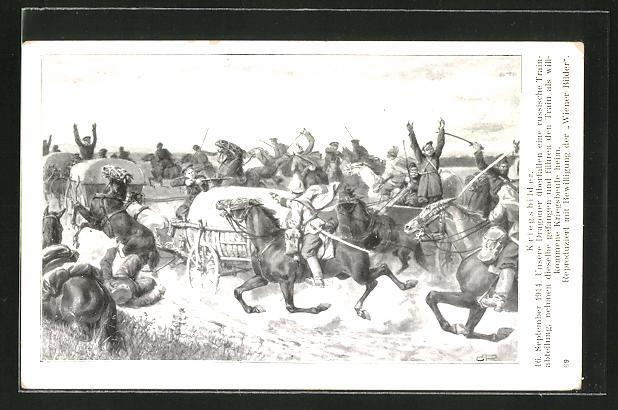 Künstler-AK Dragoner überfallen eine russische Trainabteilung 1914
