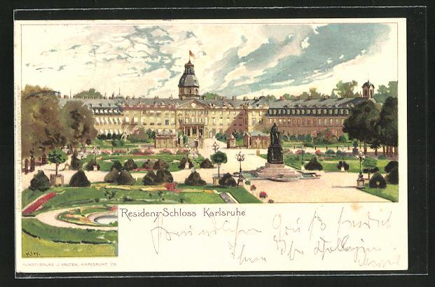 Künstler-AK Heinrich Kley: Karlsruhe, Schloss mit Parkanlage