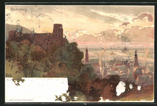 Künstler-AK Heinrich Kley: Heidelberg, Panorama bei Dämmerung
