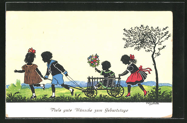 Künstler-AK Friedrich Kaskeline: Kinder mit Bollerwagen und Blumenstrauss, Schattenbild
