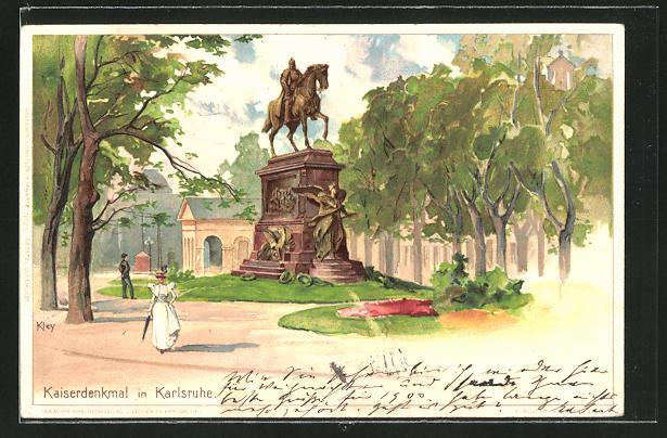 Künstler-AK Heinrich Kley: Karlsruhe, Parkpartie am Kaiserdenkmal