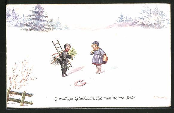 Künstler-AK Elly Frank: Schornsteinfeger und Mädchen im Schnee mit Hufeisen