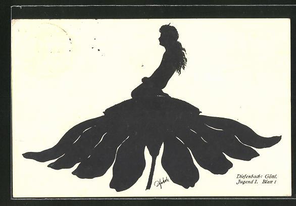 Künstler-AK Diefenbach: Göttliche Jugend I. Blatt 1, Kind auf einer Blüte, Schattenbild